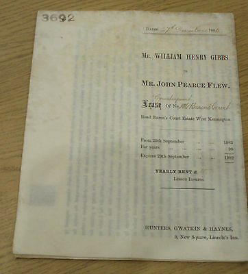 1883 Lease Counterpart Document Of No  106 Barons Court London