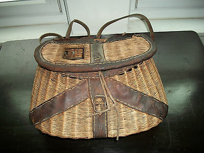 antique fishing creel leather and wicker