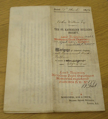 1904 Mortgage Indenture Of 106 Barrow Court Road London