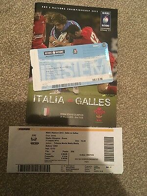 ITALY v WALES  RBS 6 NATIONS- MARCH 2015- PROGRAMME, 2 MATCH TICKETS