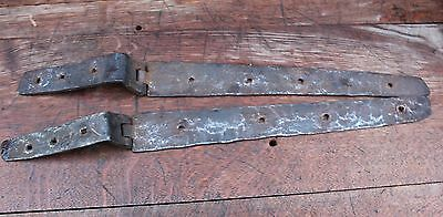 RARE PAIR OF 16th CENTURY WROUGHT IRON HINGES , Gothic Medieval early metal work