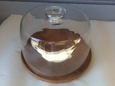 Vintage Teak Wood Gailstyn-Sutton Towle Cheese Cake Plate w/ Glass Dome Cover