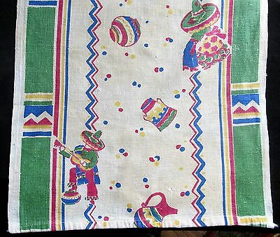 Colorful Vintage Mexican Print Table Runner