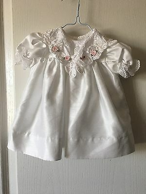 "Peaches & Cream Girls Baby White Easter Dress Size 3-6 Months EUC ""Nice"""