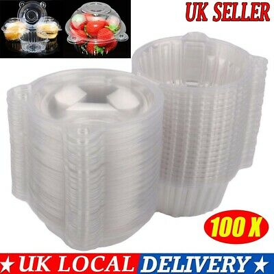Mini Cute 100 Cup Cake Holder Clear Plastic Individual Single Boxes Case Domes