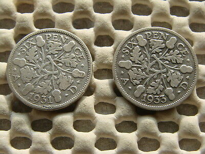 George V.  silver Sixpence 1931 & 1933.