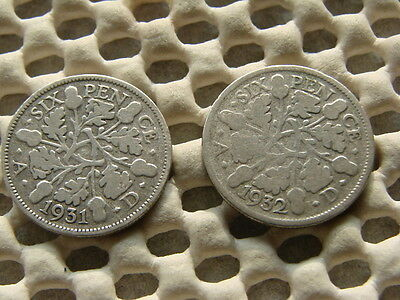 George V.  silver Sixpence 1931  & 1932.