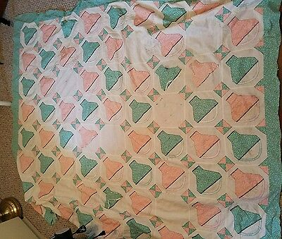 Antique Quilt top, pink and green