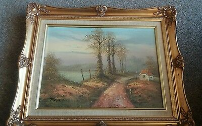 GILT FRAMED OIL PAINTING ON CANVAS Country scene signed Ferbes Collect Whitley