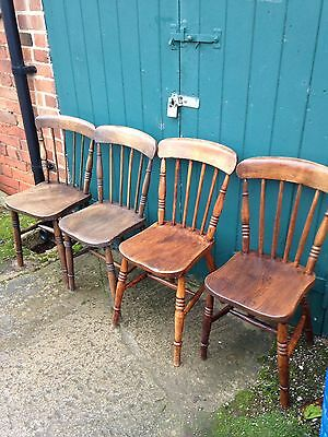 Four Antique Victorian Spindle Back Beech & Elm Farmhouse Kitchen Dining Chairs