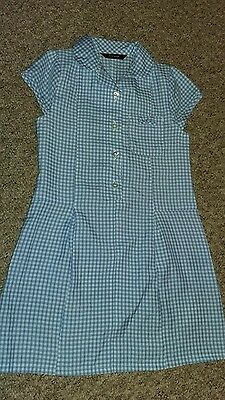 Blue and white school Summer dress..age 3-4 years. .George. 104cm
