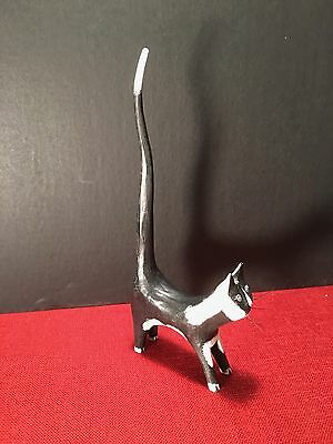 Wood Folk Art Primitive Long Tail Black/White Cat Ring Bracelet holder