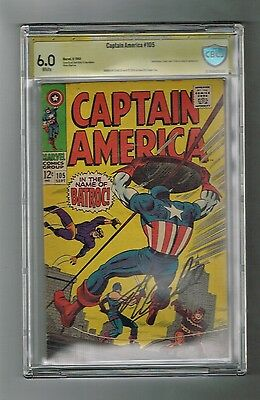 CAPTAIN AMERICA #105 CBCS Grade 6.0 Signed by STAN LEE! Guest-starring Batroc!