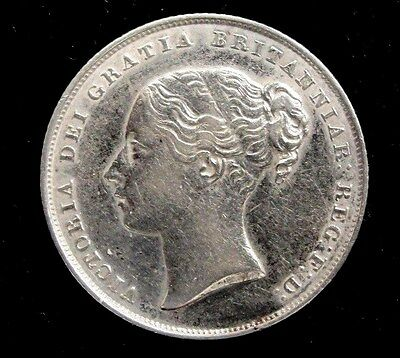 1852 Britain One Shilling Silver Coin Looks XF