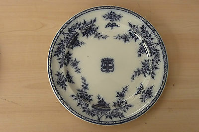 Furnival Bombay Flow Blue & White Plate Railway/Shipping Line Crest Ammorial