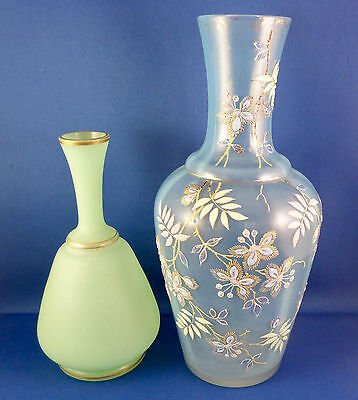 Green Frosted Art Glass Vase Gold Trim & Decorative Blue Frosted Art Glass Vase