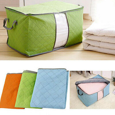 Large Clothes Quilt Bedding Fabric Zipped Handles Laundry Pillows Storage Box