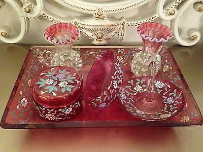 Vintage CRANBERRY Art Glass Decorated Floral Vase Trinket Pot DRESSING TABLE SET