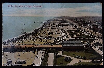 Nice Vintage Postcard Birds Eye View of Great Yarmouth 1913 & Nice Cancel