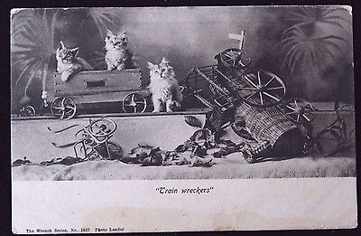 """Nice Vintage Undivided Back Cat Postcard """"Train Wreckers"""""""