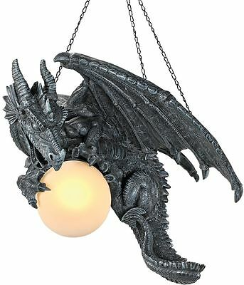 Sculpted Fierce Dragon Holding Glass Orb Dramatic Decor Hanging Chandelier Lamp