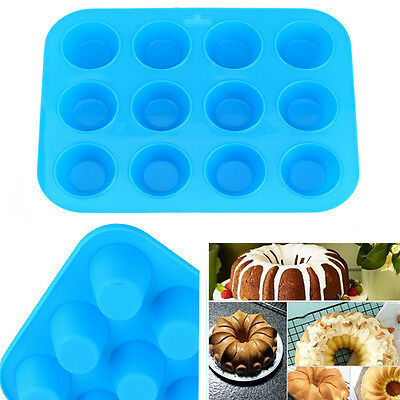 Silicone Mold Muffin Pudding Mould Bakeware Round Cup Cake Pan Baking Tray