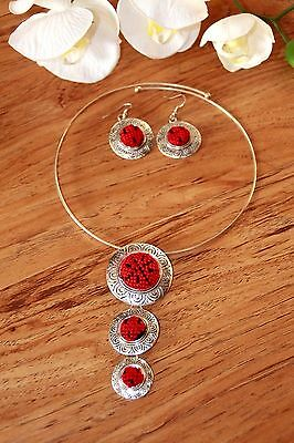 Women Jewelry Silver Embroidered Necklace Pendant Earrings New Fashion Set