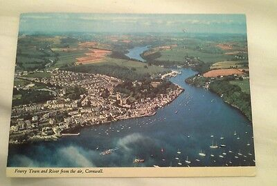 Fowey town    cornwall postcard      posted 1988  082016