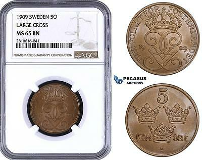 ZM825, Sweden, Gustaf V, 5 Öre 1909 (Small Cross) NGC MS65BN (NGC Error, Not Lar