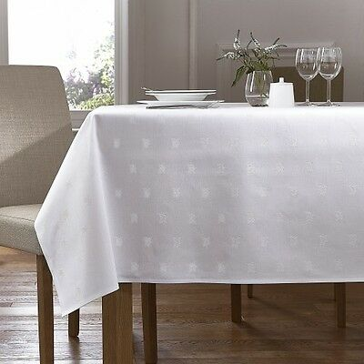 Beau White 100% Egyptian Cotton Table Cloth   Ivy Leaf Design