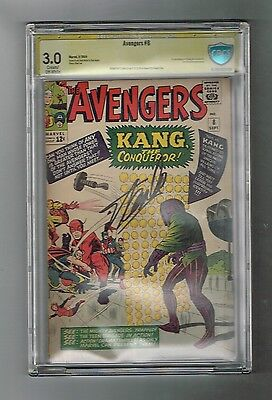 AVENGERS (V1) #8  Silver Age CBCS graded! Signed by STAN LEE! 1st Kang!