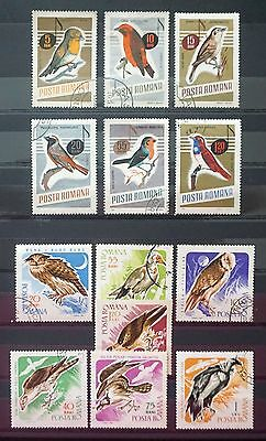 ROMANIA  Great lot of **13** Different  BIRD STAMPS   2 sets   Lot  #1