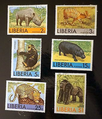 LIBERIA complete set of 6 stamps AFRICAN wild ANIMALS game     used  Lot #13