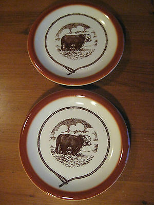 Vintage Syracuse China Western Ware Plates 2 Texas Steer Design Multiples Avail.