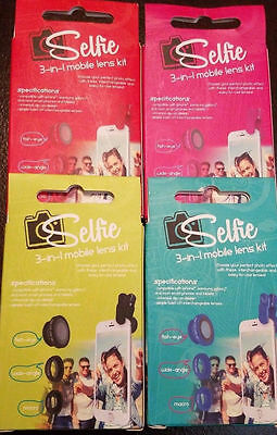 NEW Selfie 3-in-1 Mobile Lens Kit Fish-Eye Wide-Angle Macro Clip On Diff' Colors