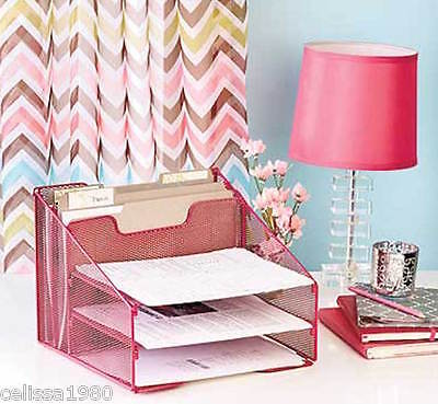 Desk Top Organizer Files Paper Home Office Supplies Pink Metal 5 Compartments