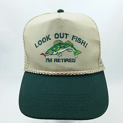 Look Out Fish Im Retired Snapback Hat Cap Trucker Baseball Adjustable Fishing