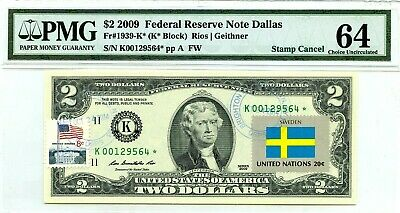 Money Us $2 Dollars 2009 Federal Reserve Star Note Dallas Flag Of Sweden Pmg Unc