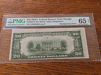1934A $20 Federal Reserve Note - Misalignment Error - PMG 65 - Chicago District