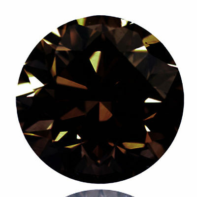 2.96 Ct   Loose Brown Diamond Round Brilliant Cut 9.56 mm (See Video)