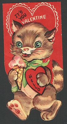 Vintage Valentines Day Card Cute Kitten eating  Pink Ice Cream Cone