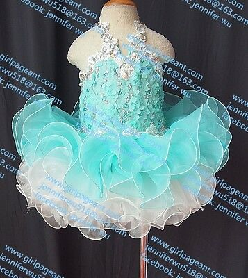 INFANT/TODDLER/BABY LACE BIG CRYSTALS PAGEANT PARTY DRESS 9~12 Months G040-2