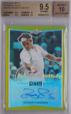 2016 Leaf Metal Tennis Auto Gold: Roger Federer #1/1 Of One Autograph - Bgs 9.5