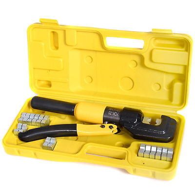 10 Ton Hydraulic Wire Battery Cable Lug Terminal Crimper Crimping Tool 9 Die New