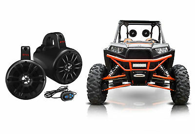 "(2) Boss 4"" 500w Powered Bluetooth Roll Cage Tower Speakers + Remote ATV/UTV/RZR"