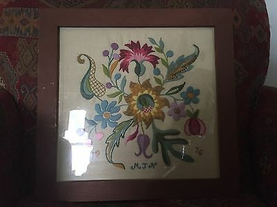 Vintage folk art crewel embroidery in handmade hand painted wood frame aafa