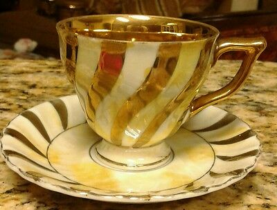 Small Porcelain lusterware Teacup and Saucer Set, Stripes Design Gold and White
