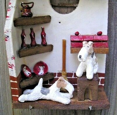 Wire Fox Terrier pair Wood WALL HANGING/ KEY HOLDER!
