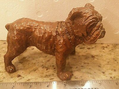 VINTAGE  old English BULLDOG Wood LOOK