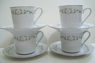 Sheffield Fine China Japan Elegance 502 Pattern - Cup and Saucer set Of 4